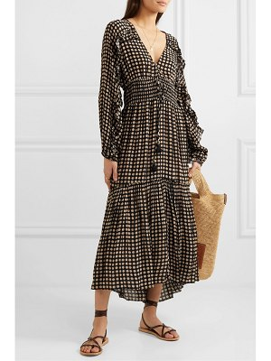 Figue alessia tiered polka-dot voile midi dress
