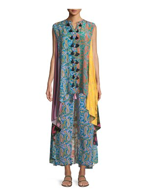 Figue Iman Patchwork-Print Sleeveless A-Line Tunic Dress