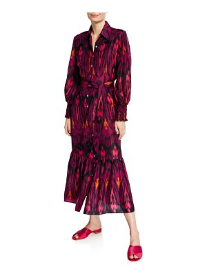 Figue Indiana Ikat-Print Silk Shirtdress
