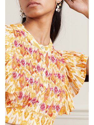 Figue janae ruffled bead-embellished embroidered printed cotton-blend blouse