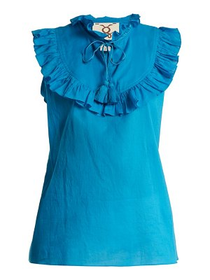 Figue Lila Ruffle Trimmed Cotton Top