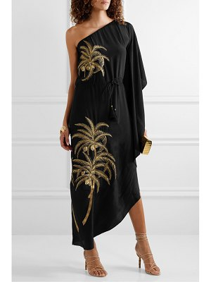 Figue maisie one-shoulder embellished embroidered crepe de chine dress