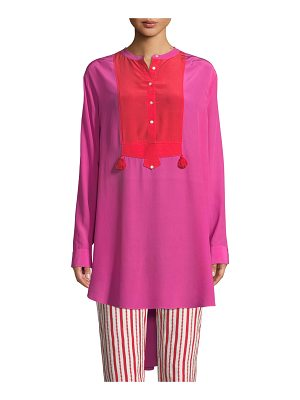 Figue Thalie Long-Sleeve Colorblock Silk Tunic Shirt