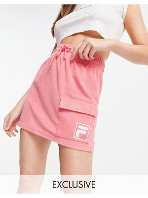 Fila towelling skirt with pocket in pink