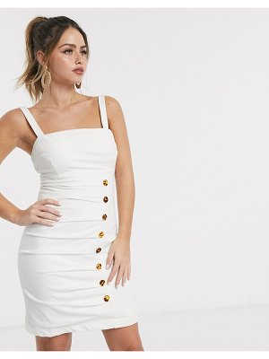 Finders Keepers effy buttondown mini dress in ivory-white