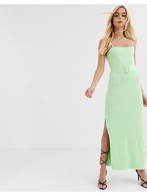 Finders Keepers ribbed knit dress with belt in lime green