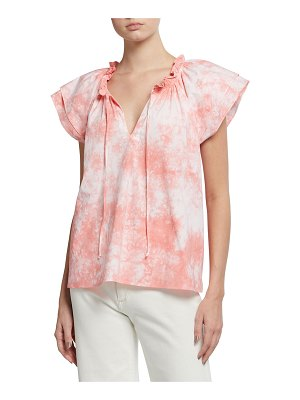 Finley Cassie Ruffle-Sleeve Solid Top