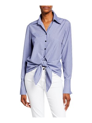 Finley Flocked Dot Button-Down Tie-Front Shirting