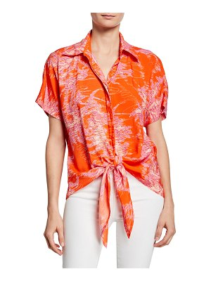 Finley Lindy Printed Button-Front Short-Sleeve Tie-Hem Top