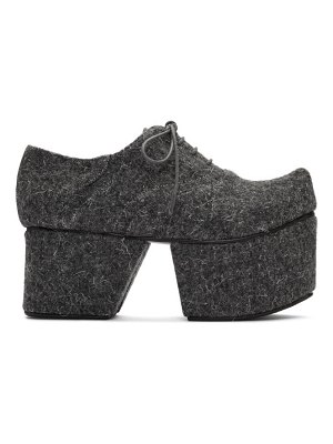 Flat Apartment grey wool separated platform oxfords
