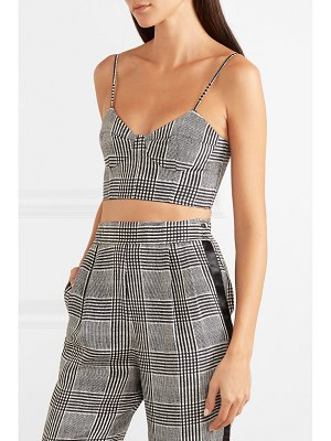 fleur du mal prince of wales checked silk-blend bustier top