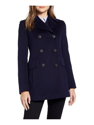 Fleurette double breasted wool peacoat