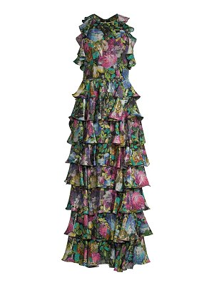 Flor et. al iguala dark floral tiered ruffle gown