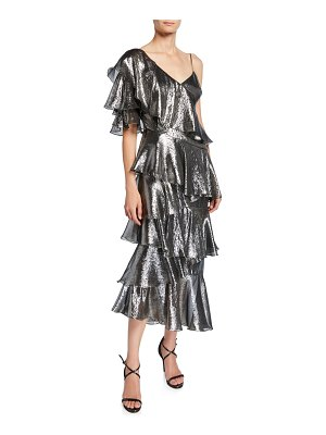 flor et.al Bowie Metallic Asymmetric Tiered Ruffle Midi Dress