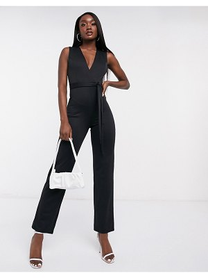 Flounce London club plunge neck belted jumpsuit in black-white