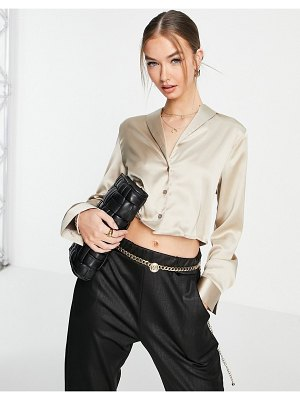 Flounce London cropped long sleeve satin shirt in champagne