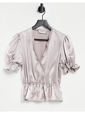 Flounce London flounce wrap front blouse with puff sleeves and ruffle detailing in metallic silver-black