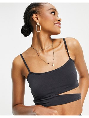 Flounce London jersey cut out cami top in slate gray-grey