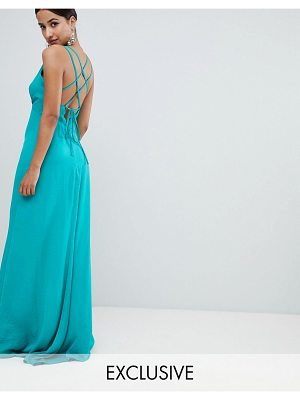 Flounce London plunge front maxi dress with strappy back