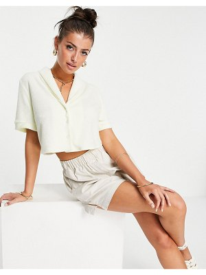 Flounce London terry cropped shirt in cream