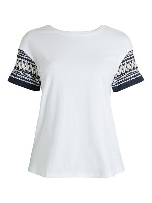 FOR THE REPUBLIC Embroidered-Sleeve Cotton T-Shirt