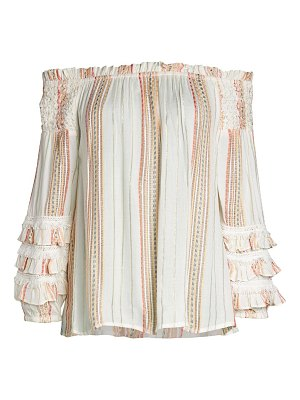 FOR THE REPUBLIC Off-The-Shoulder Tiered-Sleeve Top