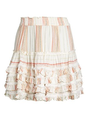 FOR THE REPUBLIC Striped Ruffle Pull-On Skirt