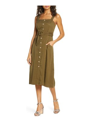FOREST LILY belted button front dress