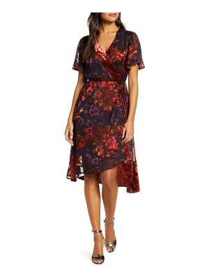 FOREST LILY floral burnout satin wrap dress