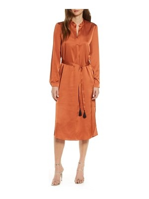 FOREST LILY long sleeve satin shirtdress