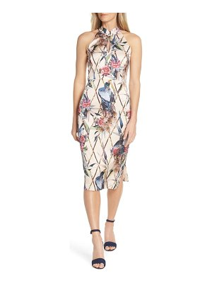 FOREST LILY peacock halter sheath dress