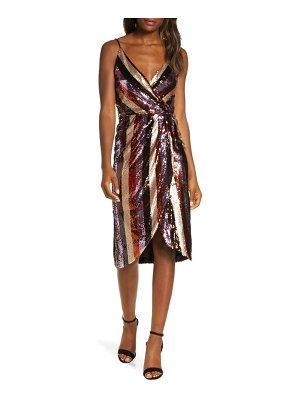 FOREST LILY striped sequin faux wrap dress
