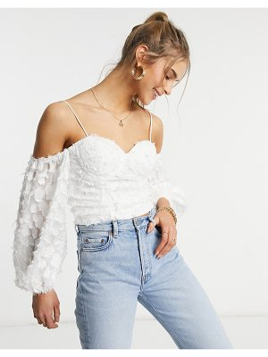 Forever U cold shoulder top with puff sleeve and cup detail in textured white
