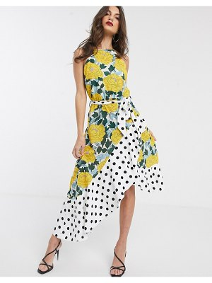 Forever U collection asymmetric dress in bright floral and polkadot mix-multi
