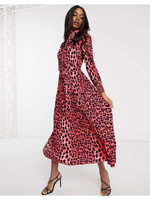 Forever U collection pleated midaxi dress in bright animal print-pink