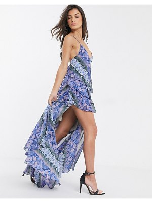 Forever U collection ruffle maxi cami dress with thigh split in multi snake