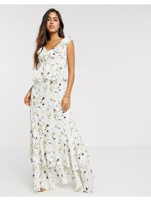 Forever U collection satin ruffle maxi dress in soft floral-multi