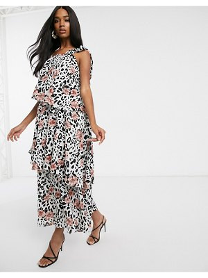 Forever U collection tiered midaxi smock dress in animal floral-multi