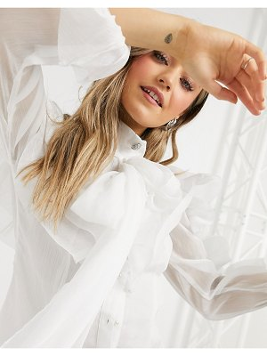 Forever U exaggerated ruffle blouse with oversized sleeves in ivory-white