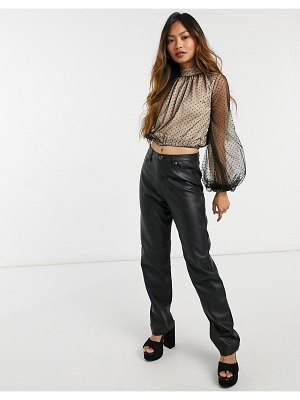 Forever U high neck gathered polka dot mesh blouse with balloon sleeves in black-multi