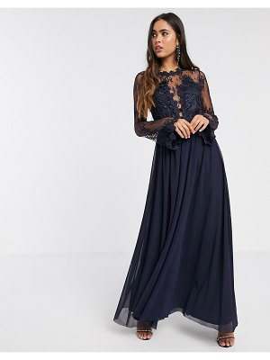 Forever U lace and chiffon maxi in navy