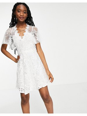 Forever U lace overlay mini dress in white