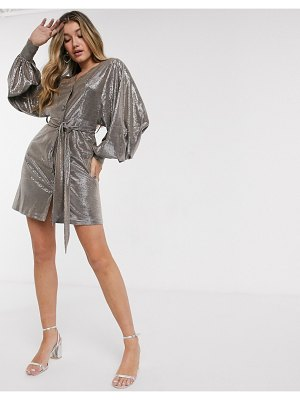 Forever U metallic mini dress with balloon sleeves in silver