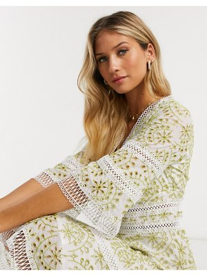 Forever U mini dress in contrast broderie in lime-green