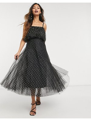 Forever U organza ruffle midi dress with gold dots in black
