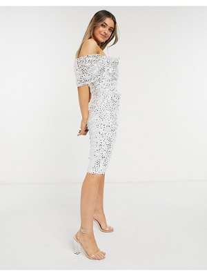 Forever U ruched midi dress in sequin in ivory and gold-white