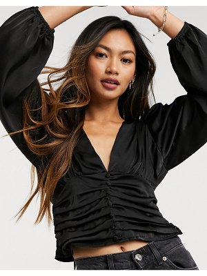Forever U silky blouse with ruched detail in black