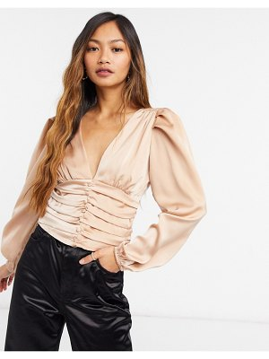 Forever U silky blouse with ruched detail in champagne-cream