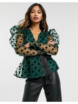 Forever U textured dot puff sleeve blouse with contrast waist tie in emerald green
