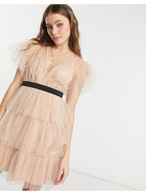 Forever U tiered texture mesh mini dress with flutter sleeve and contrast waistband in rose gold-pink